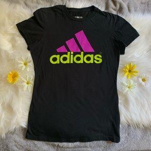 Adidas Neon Green and Purple Logo T-Shirt